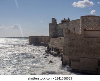 Castello Maniace located in Syracuse city, Sicily, Italy