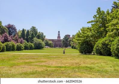 Castello Sforzesco seen from Sempione Park in Milan, Italy.