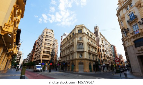 CASTELLON DE LA PLANA, SPAIN - AUGUST 25: City street of  Castellon on August 25, 2013 in Castellon de la Plana, Spain. City is located  in the east of Iberian Peninsula