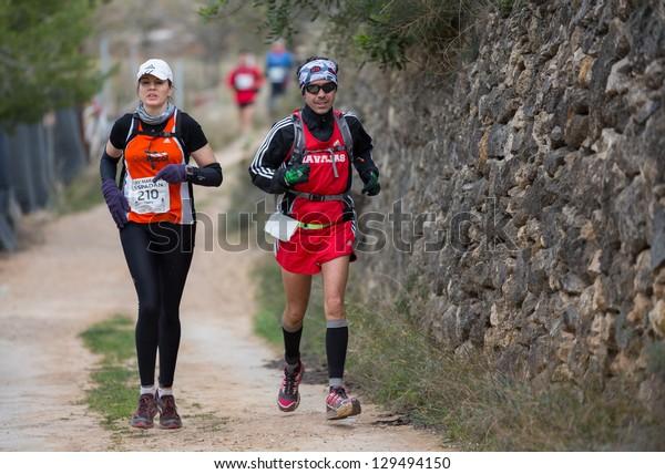 CASTELLON - FEBRUARY 24: Charo Pi�±ol (number 210) participates in XV Edition of Espadan mountain marathon on February 24, 2013 in Castellon, Spain