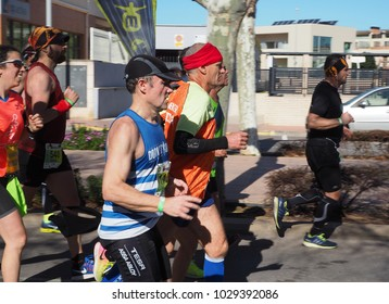 Castellon,Spain.February 18th 2018.Group of athletes running during the annual marathon in Castellon,Spain.