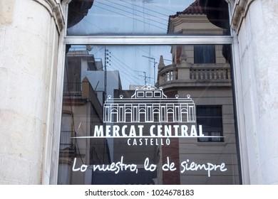 CASTELLON,SPAIN-JANUARY 30,2018: Detail facade sign window glass market,mercat central in Castellon,Spain.