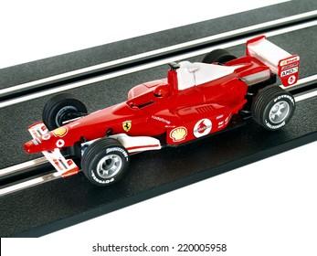 Castellon,Spain.September 27,2014.Red slot car on the track