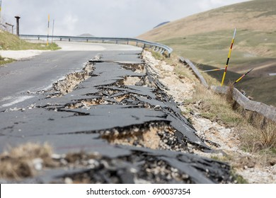Castelluccio, Umbria, Italy 24 August 2016. Earthquake center of italy with magnitude 6.5 scale of richter scale. Its destructive force.