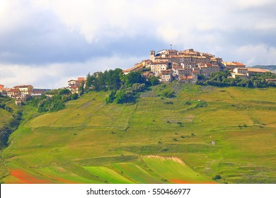 "Castelluccio village above the ""Great Plain"" (Piano Grande), Sibillini National Park, region of Umbria, Italy"