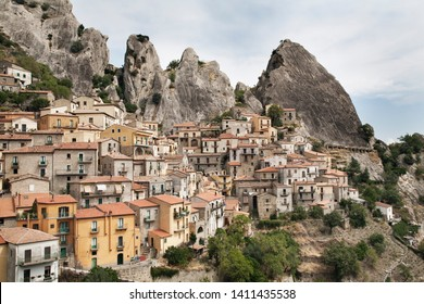 Castelmezzano, Basilicata, Italy. View of the town.