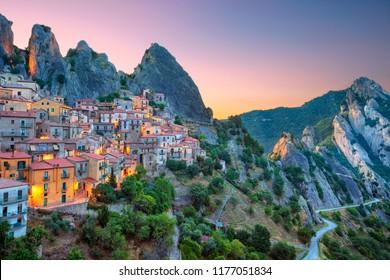 Castelmezzano, Italy. Cityscape aerial image of medieval city of Castelmazzano, Italy during beautiful sunrise.