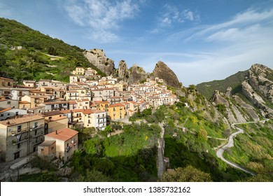 Castelmezzano, province of Potenza, in the Southern Italian region of Basilicata