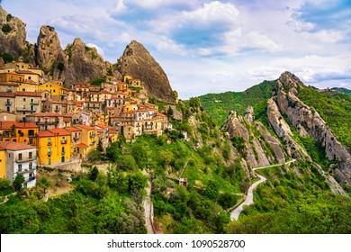 Castelmezzano village in Apennines Dolomiti Lucane. Basilicata, Italy.
