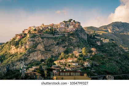 Castelmola: typical sicilian village perched on a mountain, close to Taormina. Messina province, Sicily, Italy.