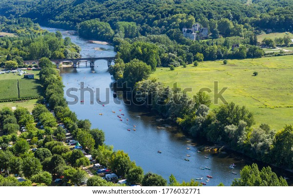 Castelnaud; France - August 11; 2019: Dordogne river from Chateau Castlenaud. Castelnaud-la-Chapelle, Dordogne, France