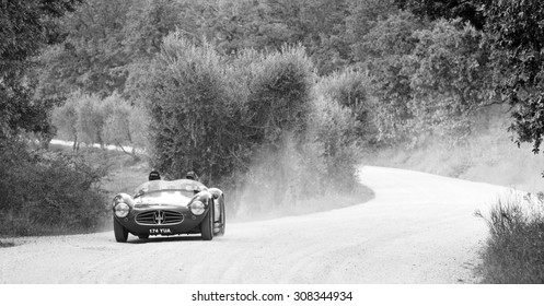 CASTELNUOVO BERARDENGA (SI), ITALY - SEPTEMBER 20: A Maserati A6GCS takes part to the GP Nuvolari classic car race on September 20, 2014 in Castelnuovo Berardenga (SI). The car was built in 1954