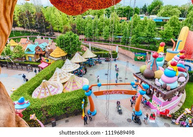 CASTELNUOVO DEL GARDA, ITALY - MAY 1: Aerial view inside Gardaland Amusement Park, near Lake Garda, Italy, May 1, 2018. The park attracts nearly 3 million visitors every year