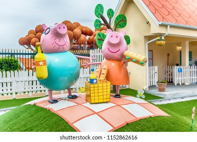 CASTELNUOVO DEL GARDA, ITALY - MAY 1: Peppa Pig Land, theme area inside Gardaland Amusement Park, near Lake Garda, Italy, May 1, 2018. The park attracts nearly 3 million visitors every year