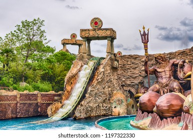 CASTELNUOVO DEL GARDA, ITALY - MAY 1: People enjoying a theme area inside Gardaland Amusement Park, near Lake Garda, Italy, May 1, 2018. The park attracts nearly 3 million visitors every year