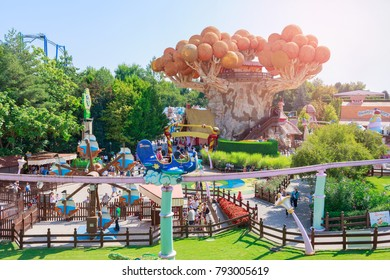 Castelnuovo del Garda, tree, Italy - Agust 31 2016: Gardaland Theme Amusement Park in Castelnuovo Del Garda, Verona, Italy.Sun Ray