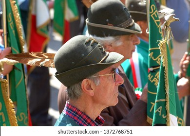 Castelnuovo don Bosco, Piedmont/Italy -04/07/2019- 90°  gathering of Alpini, the mountain warfare infantry corps of the Italian Army.