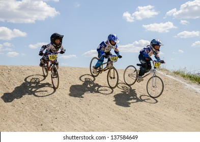 CASTELO BRANCO, PORTUGAL - MAY 4: School Athletes at the 2nd stage of the Portuguese BMX race Cup the  on may 4, 2013 in Castelo Branco, Portugal.