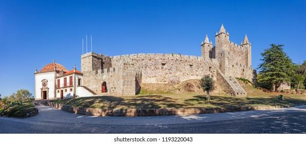 Castelo da Feira Castle with Nossa Senhora da Esperanca Chapel on the left. Santa Maria da Feira, Portugal.