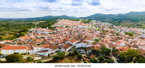 Castelo de Vide is a Ancient village. Panoramic view of the Old Town and the surrounding hills from the medieval castle.Alentejo Region. Portugal