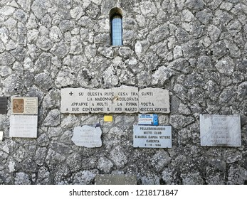 Castelpetroso, Isernia, Molise, Italy - October 14, 2018: Epigraphs on the side wall of the Apparition Chapel