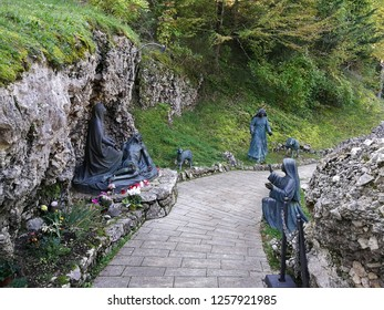 Castelpetroso, Isernia, Molise, Italy - October 14, 2018: Sculptural group realized by the artist Urbano Buratti near the cave of the apparitions at the end of the Via Matris