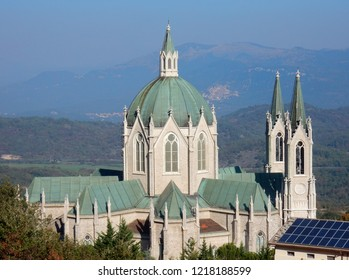 Castelpetroso - Sanctuary of Our Lady of Sorrows from above