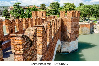 Castelvecchio Bridge, aka Scaliger Bridge, iconic landmark in Verona, Italy
