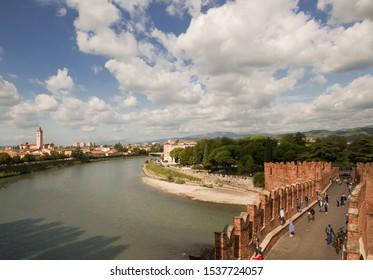 Castelvecchio Bridge, Verona Old Town - Verona is a magical city, a city of romance and history. Verona, Italy -  10 oct. 2019