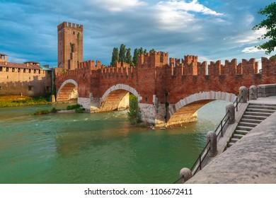 Castelvecchio at sunset in Verona, Northern Italy.