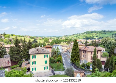 Castelvetro, Italy  - April 25, 2017: panoramic view of town in Castelvetro, Italy. Castelvetro is known for its 6 medial towers and is a renowned center of wine and balsamic vinegar production.