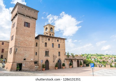 Castelvetro, Italy  - April 25, 2017: day view of main square and medieval buildings in Castelvetro di Modena, Italy. Castelvetro is known for its 6 medial towers and balsamic vinegar