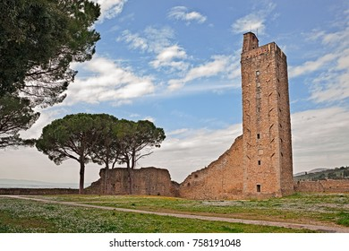 Castiglion Fiorentino, Arezzo, Tuscany, Italy: the medieval tower of the town's fortress Cassero in the old town