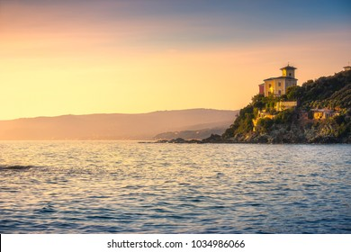 Castiglioncello coast, cliff rock and sea. Tuscany, Italy, Europe