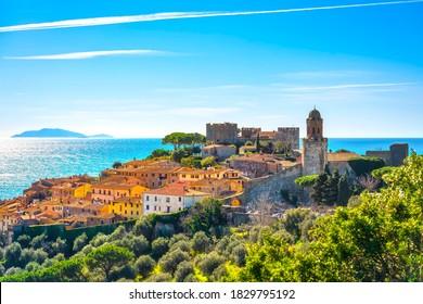 Castiglione della Pescaia, old town and sea on background. Maremma, Tuscany, Italy Europe
