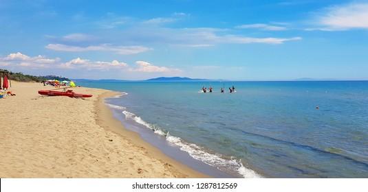 Castiglione della Pescaia, Tuscany, Italy - July, 2018. The beach of Roccamare in Castiglione della Pescaia in summer, Tuscany, Italy