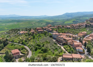 Castiglione d'Orcia, Italy - April 26, 2018: Amazing panoramic view of the Castiglione d'Orcia. Beautiful landscape in Tuscany, Fortress on the hill. The small typical town in Val d'Orcia