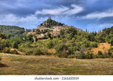 Castiglione d'Orcia, Italy - July 27, 2018: Landscape view of Castiglione d'Orcia in Tuscany, Italy