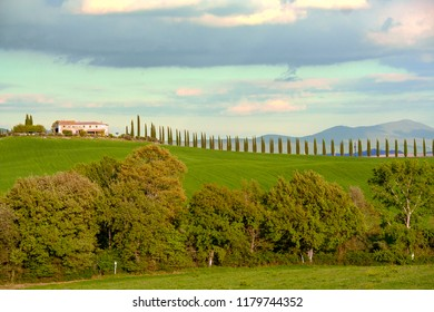 At Castiglione d'Orcia - Italy - On april 2017 - Landscape of tuscan countryside, Val d'Orcia, Siena