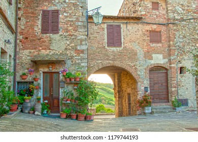 At Castiglione d'Orcia  - Tuscany - On april 2017 - the old town in Val d'Orcia,  Tuscany