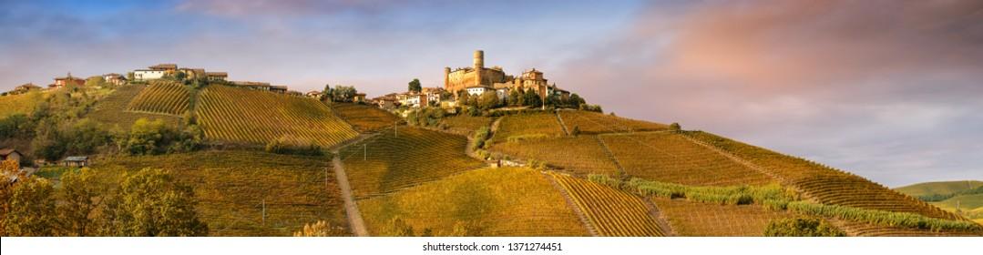 Castiglione Falletto village in Barolo wine region, Langhe, Piedmont, Italy