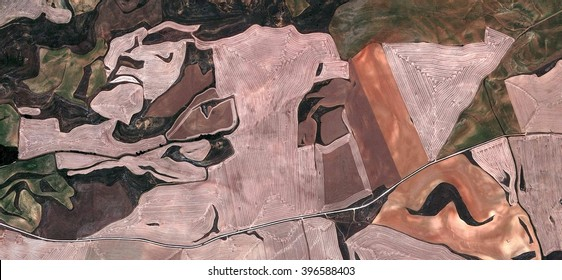 The Castilian Guernica,Tribute to Picasso, abstract photography of the Spain fields from the air, bird's eye view, tribute to Pollock, artistic representation of human labor camps,