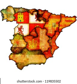 castilla and leon region on administration map of regions of spain with flags and emblems