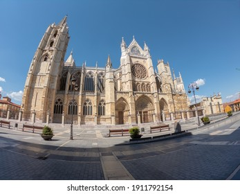 Castilla Leon, Spain - September 5, 2020: The Gothic Cathedral of Leon. The Santa María de León Cathedral, also called The House of Light or the Pulchra Leonina.