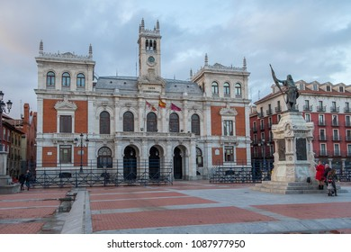 Castilla, Spain - march 10, 2018: Plaza Mayor and Valladolid town hall building next to the monument to Count Pedro Ansurez