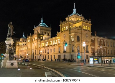 Castilla, Spain - march 10, 2018: Sculpture and building of the Cavalry Academy with night lighting, in the center of the city of Valladolid