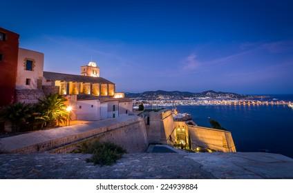 Castillo Almudaina in Dart Vila fortress. Santa Maria d' Eivissa cathedral.