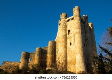 Castillo de Coyanza, the castle in Valencia of Don Juan, in golden hour light, a 15th century castle in Castile and Leon, Spain, inspiration for Camelot in Monty Python and the Holy Grail