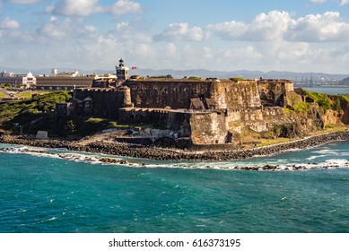 Castillo de El Morro in San Juan, Puerto Rico view from the sea