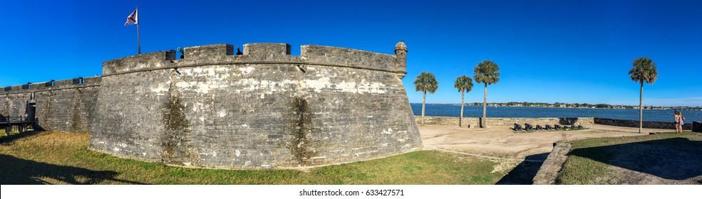 Castillo de San Marcos National Monument, panoramic view - St Augustine, Florida.